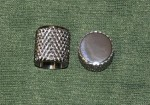 Late 50's Flat Top Heavy Knurled Knobs, set of 2